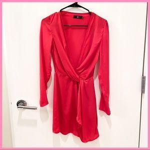 🎀 MISSGUIDED RED WRAP MINI DRESS